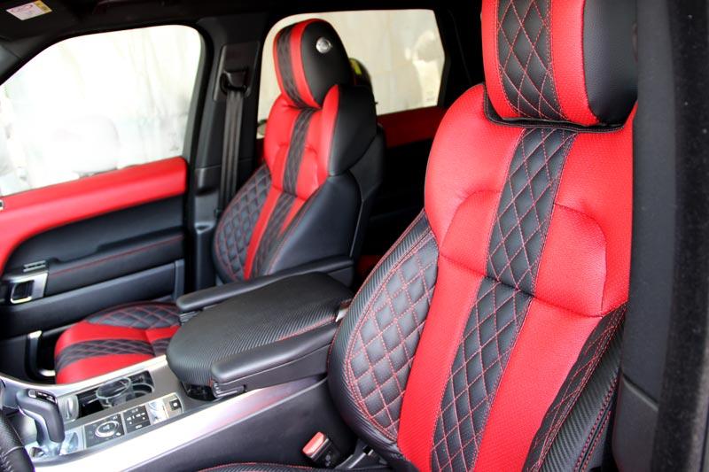 ריפוד לרכב פרימיום בהזמנה אישית לרכב לנד רובר אדום קרבון במשנת ידריפוד לרכב