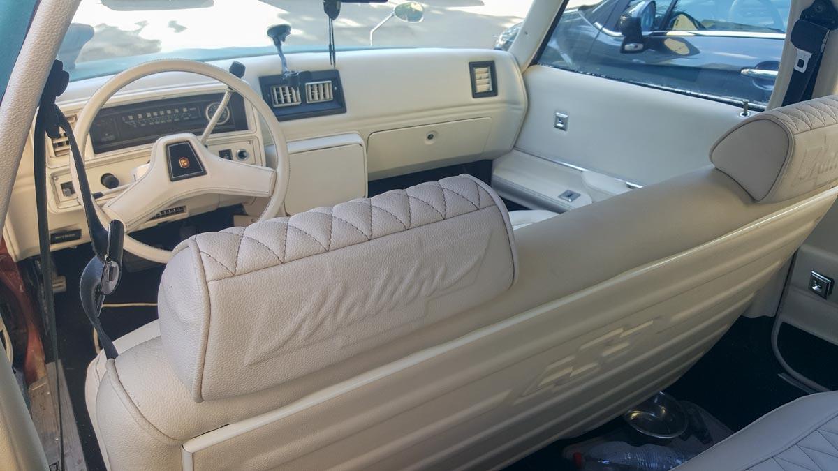 פנים רכב - ריפוד והבלטות דקורטיביות בגב המושב ובכריות ראש